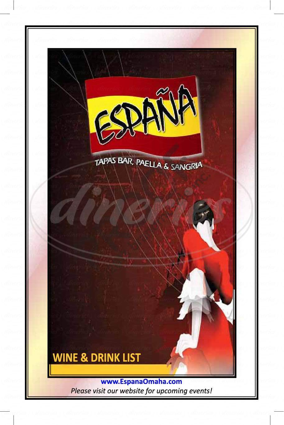 menu for Espana Restaurant