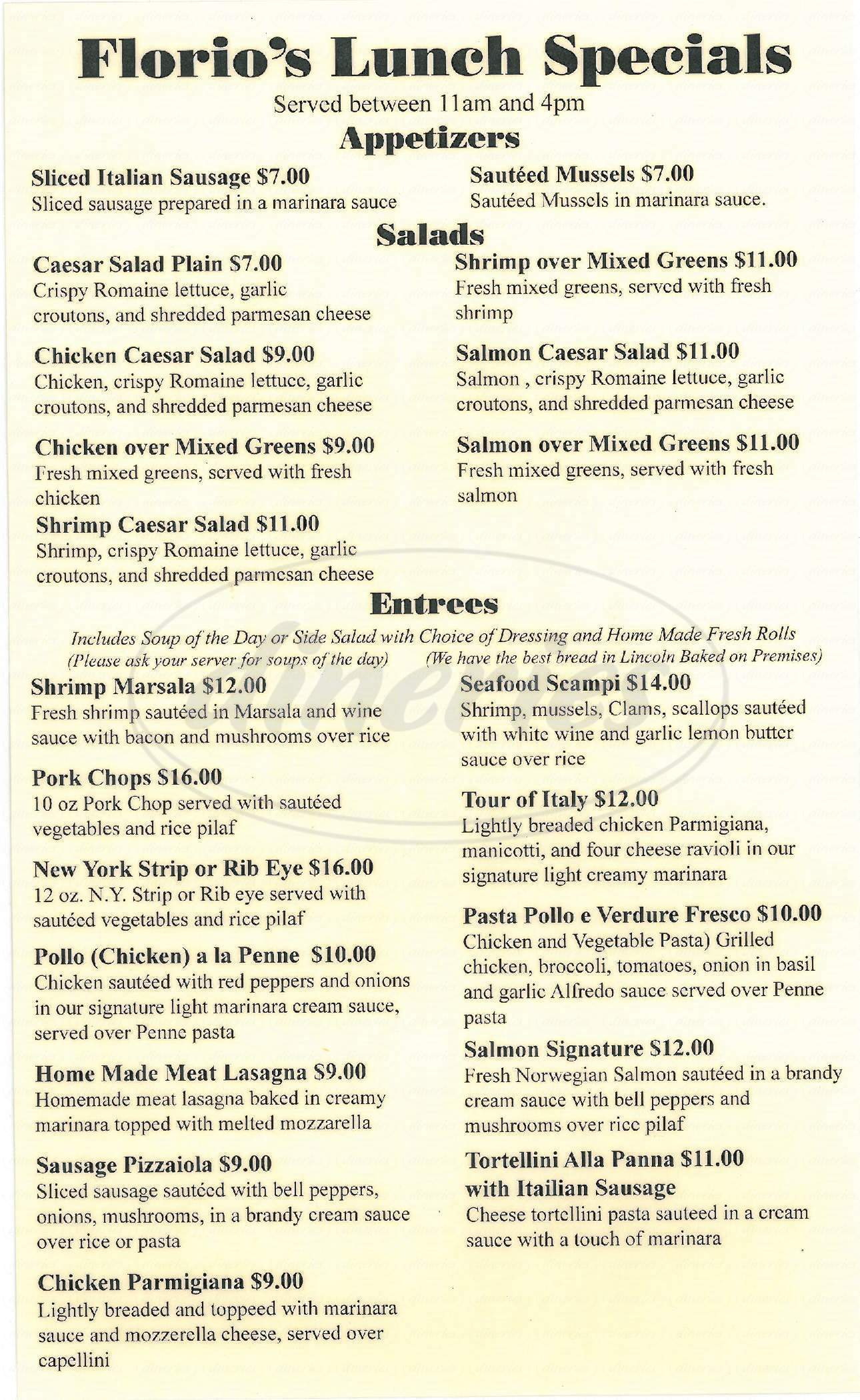 menu for Florio's Italian Steakhouse & Lounge