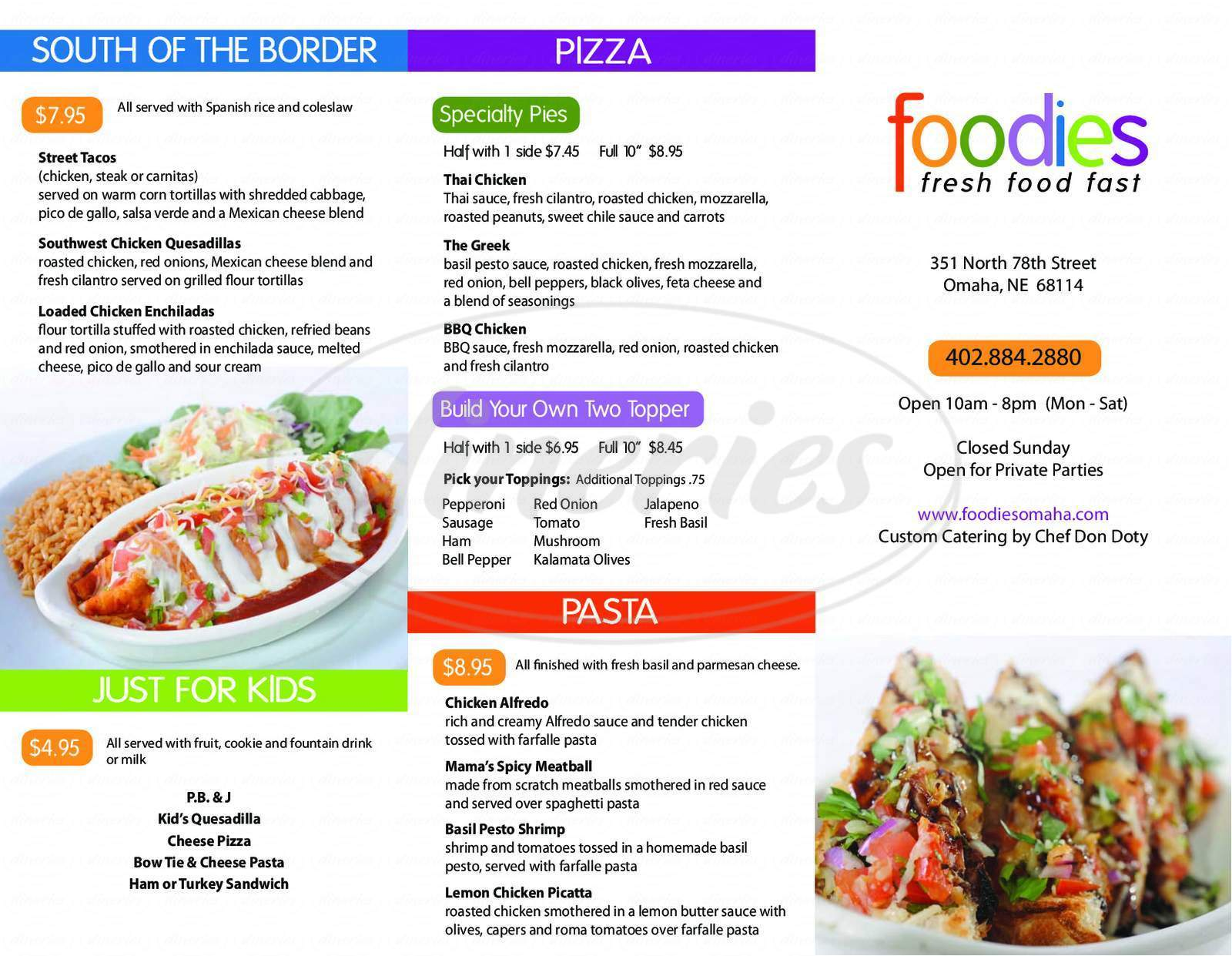 menu for Foodies