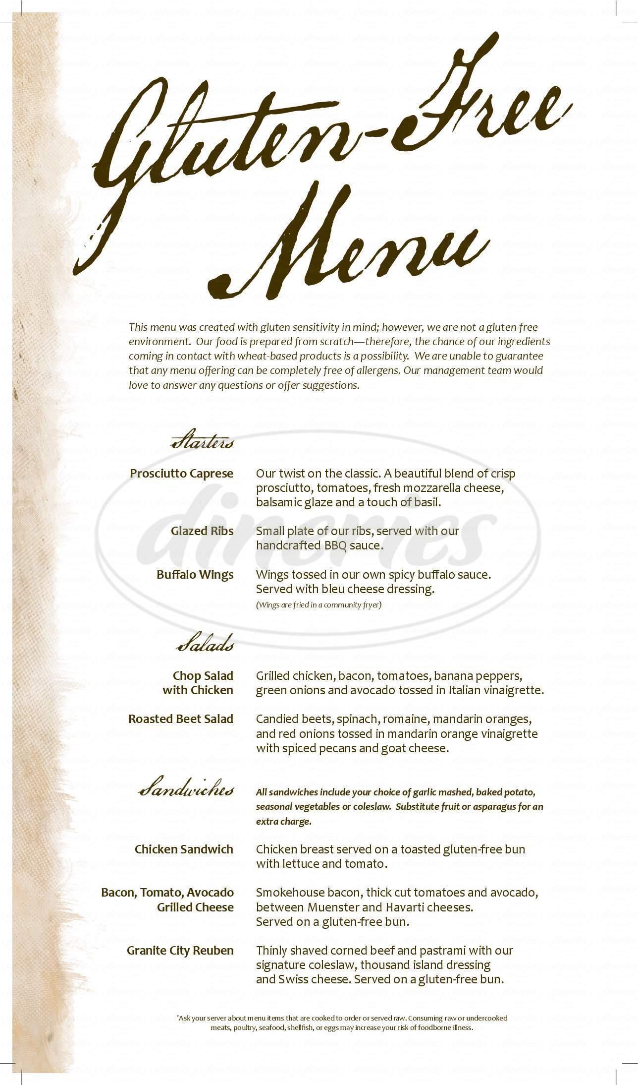 menu for Granite City Food & Brewery