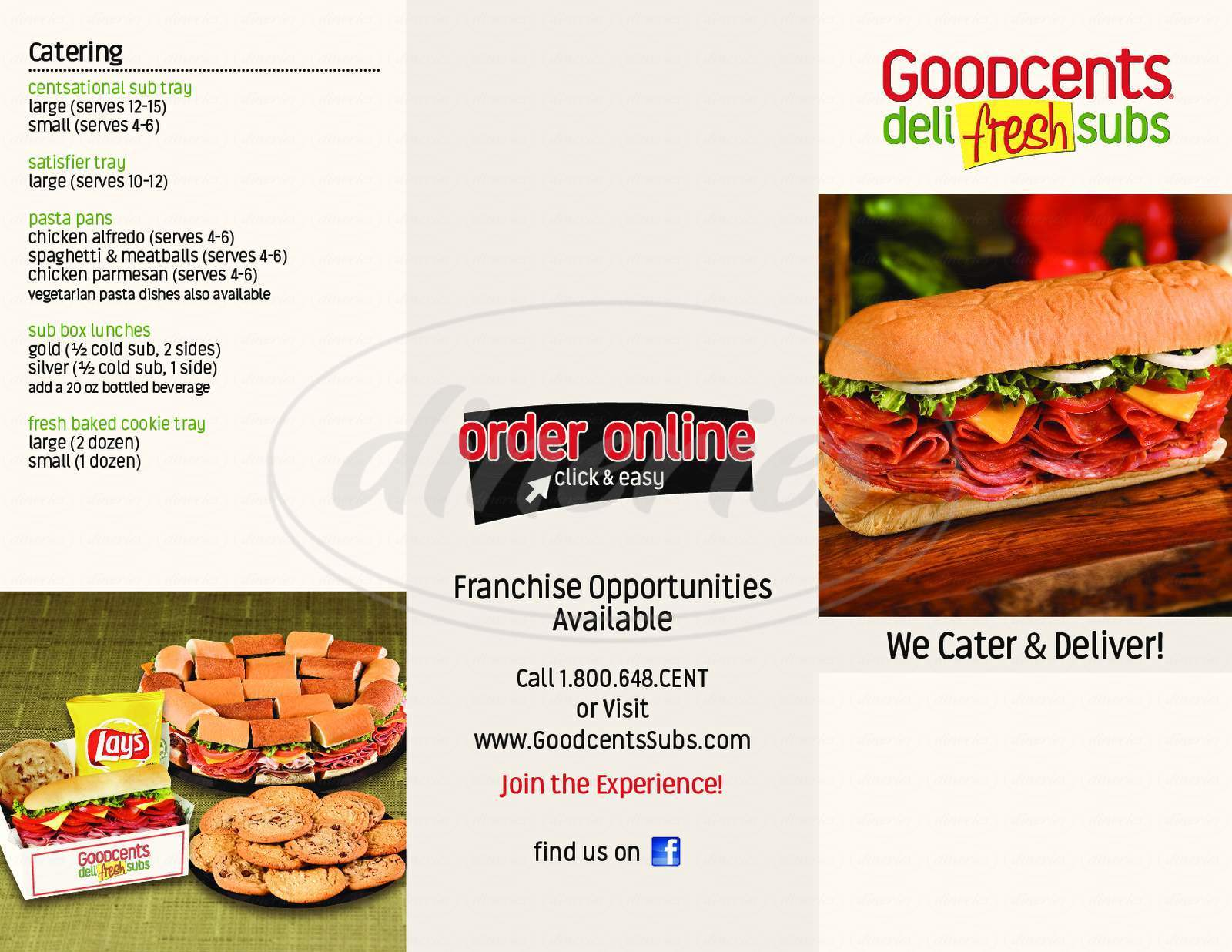 menu for Mr Goodcents Subs & Pastas