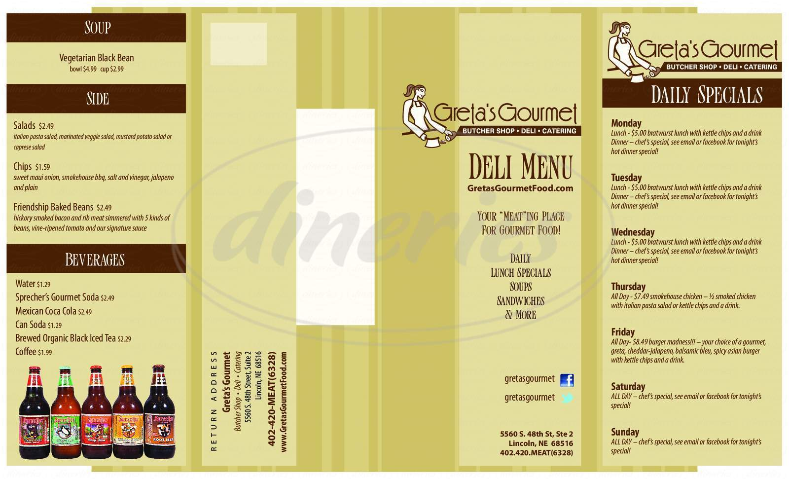 menu for Greta's Gourmet Butcher Shop, Deli, Catering