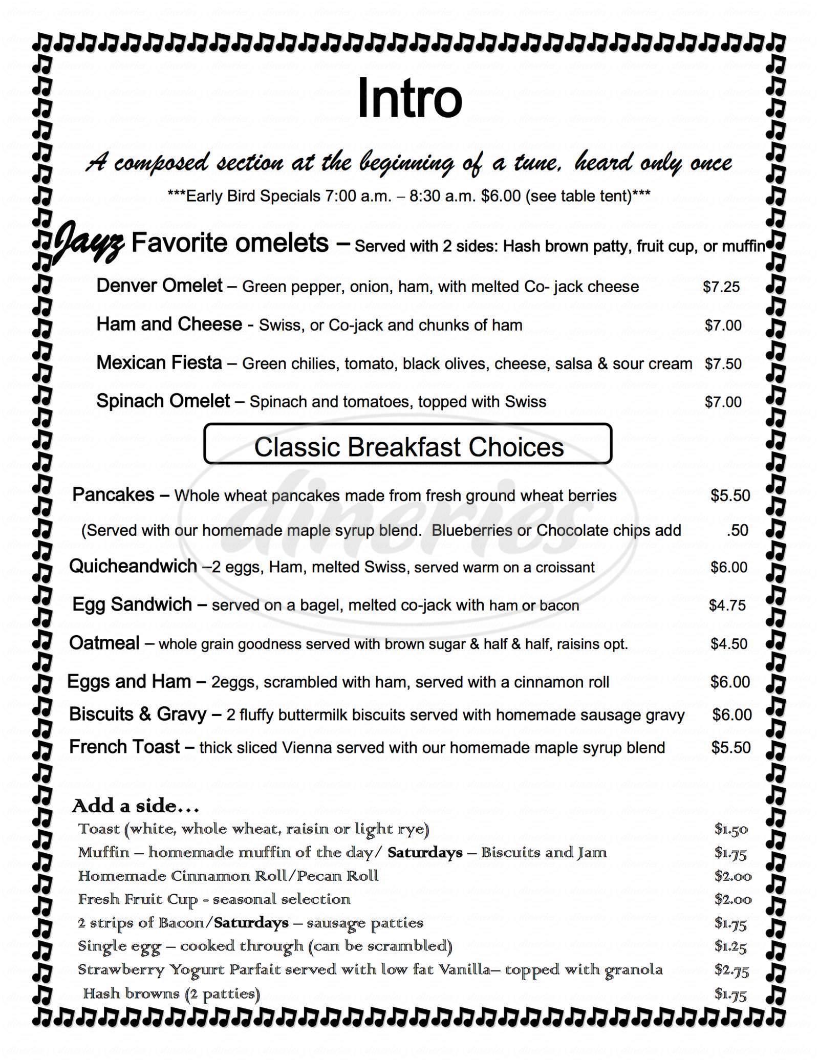 menu for Jayz Cafe - Bakery Coffee Deli