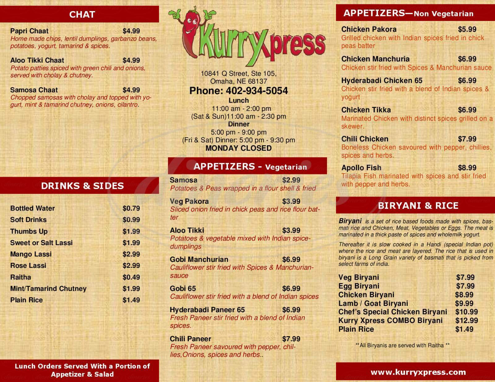 menu for Kurry Xpress