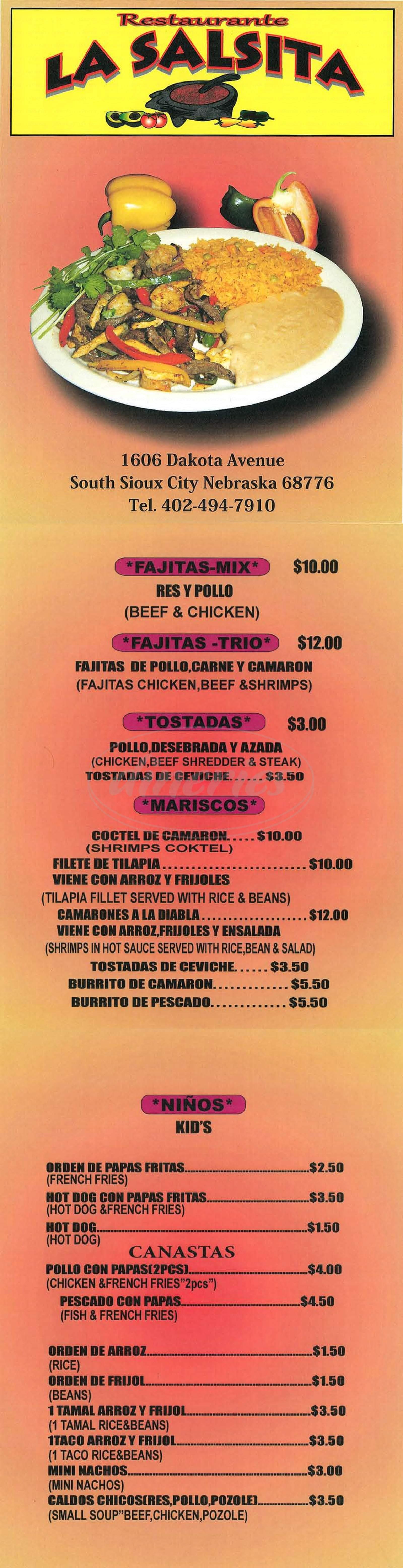 menu for La Salsita
