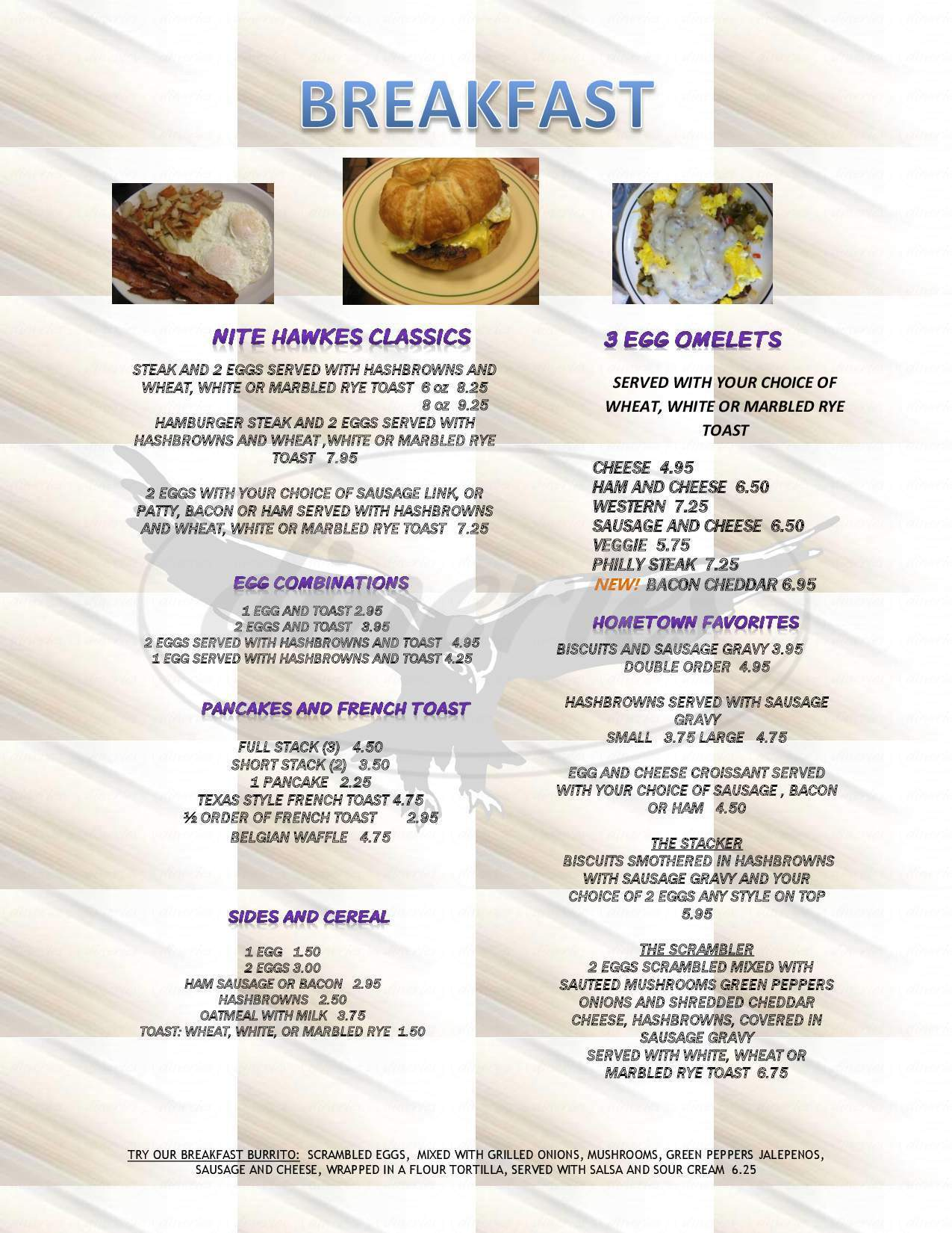 menu for Nite Hawkes Cafe