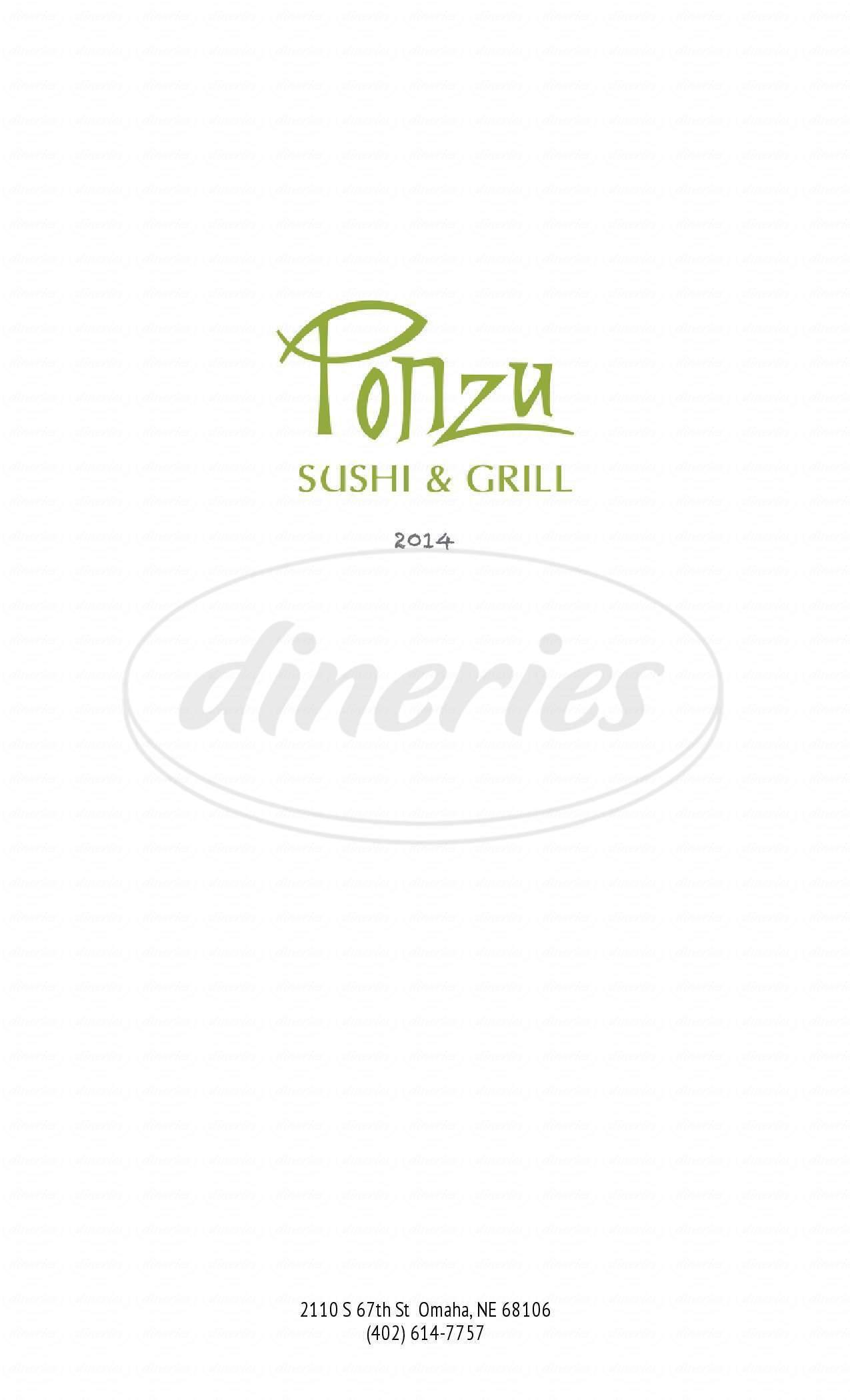 menu for Ponzu Sushi & Grill
