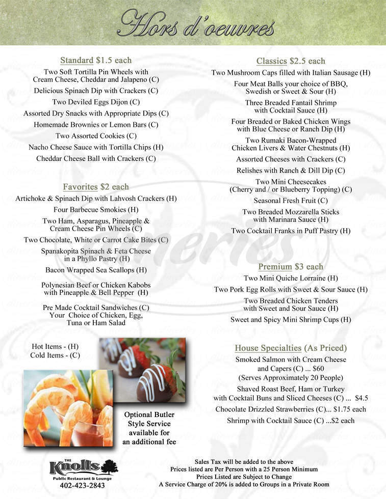 menu for Knolls Restaurant & Lounge-Public