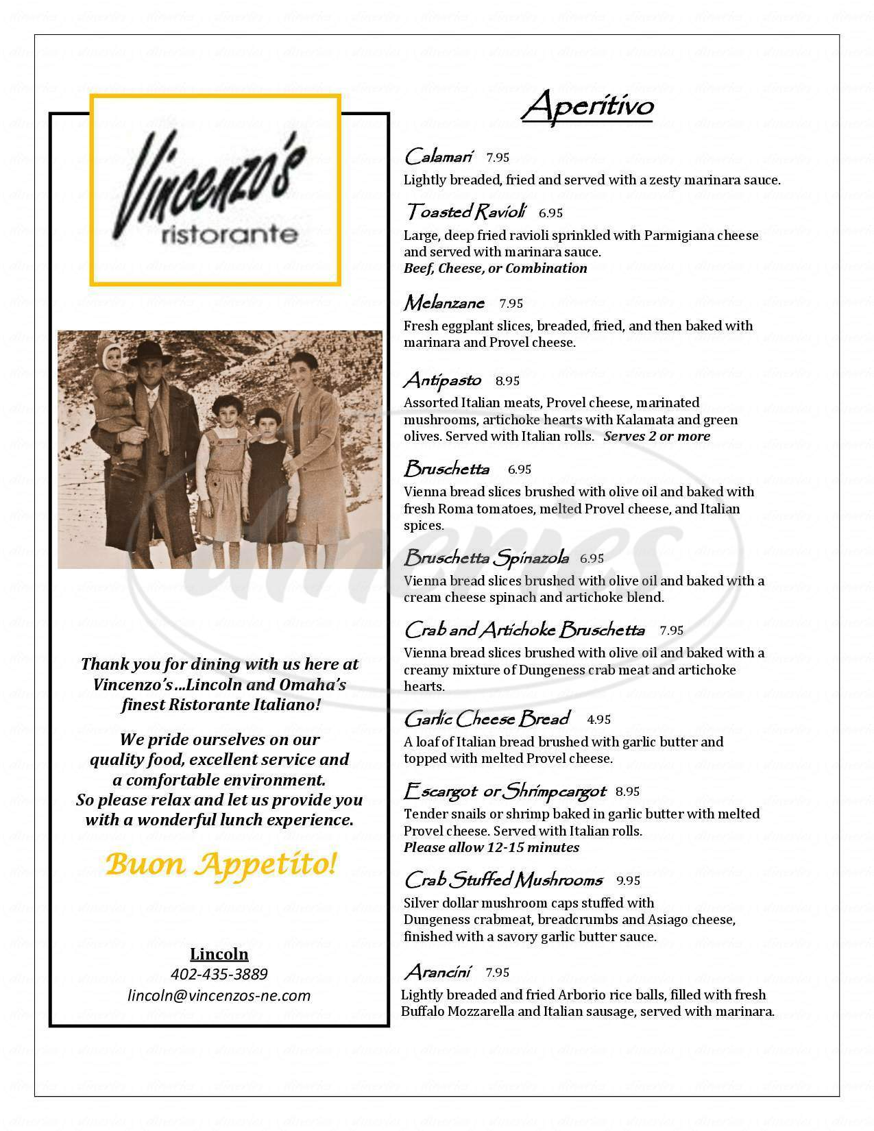 menu for Vincenzo's Ristorante