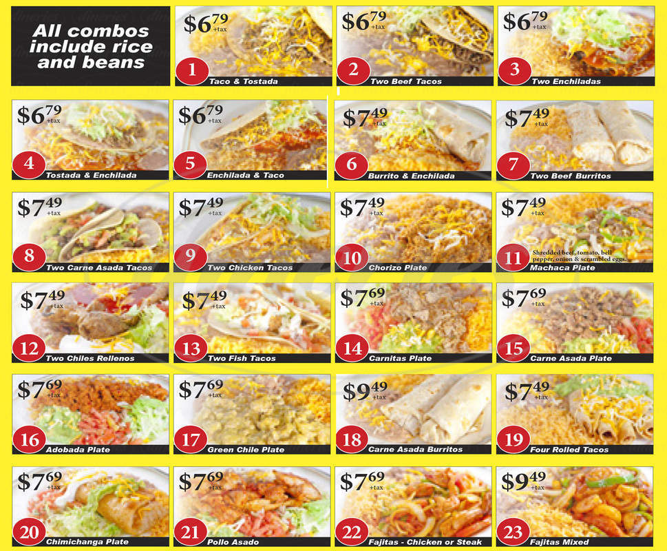 menu for Abelardo's Authentic Mexican Food