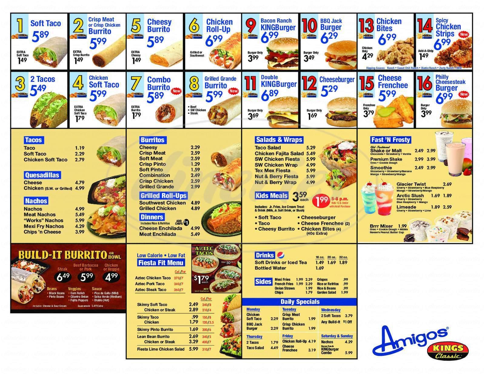 menu for Amigo's & Kings Classic