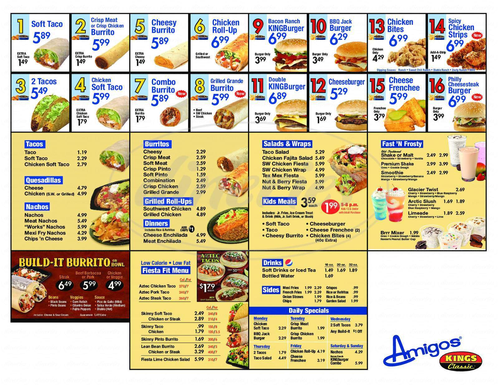 menu for Amigos Kings Classic