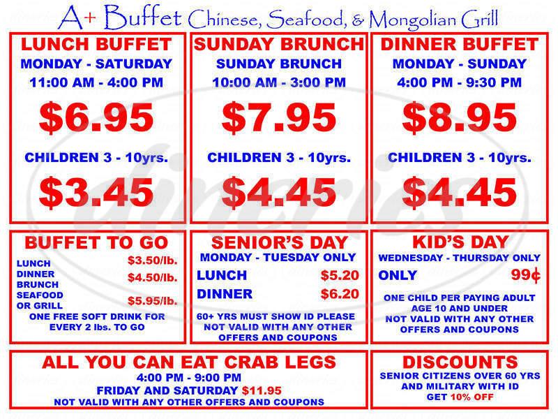 menu for A+ Buffet & Mongolian Grill
