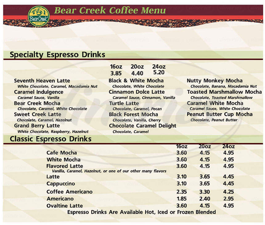 menu for Bear Creek Coffee