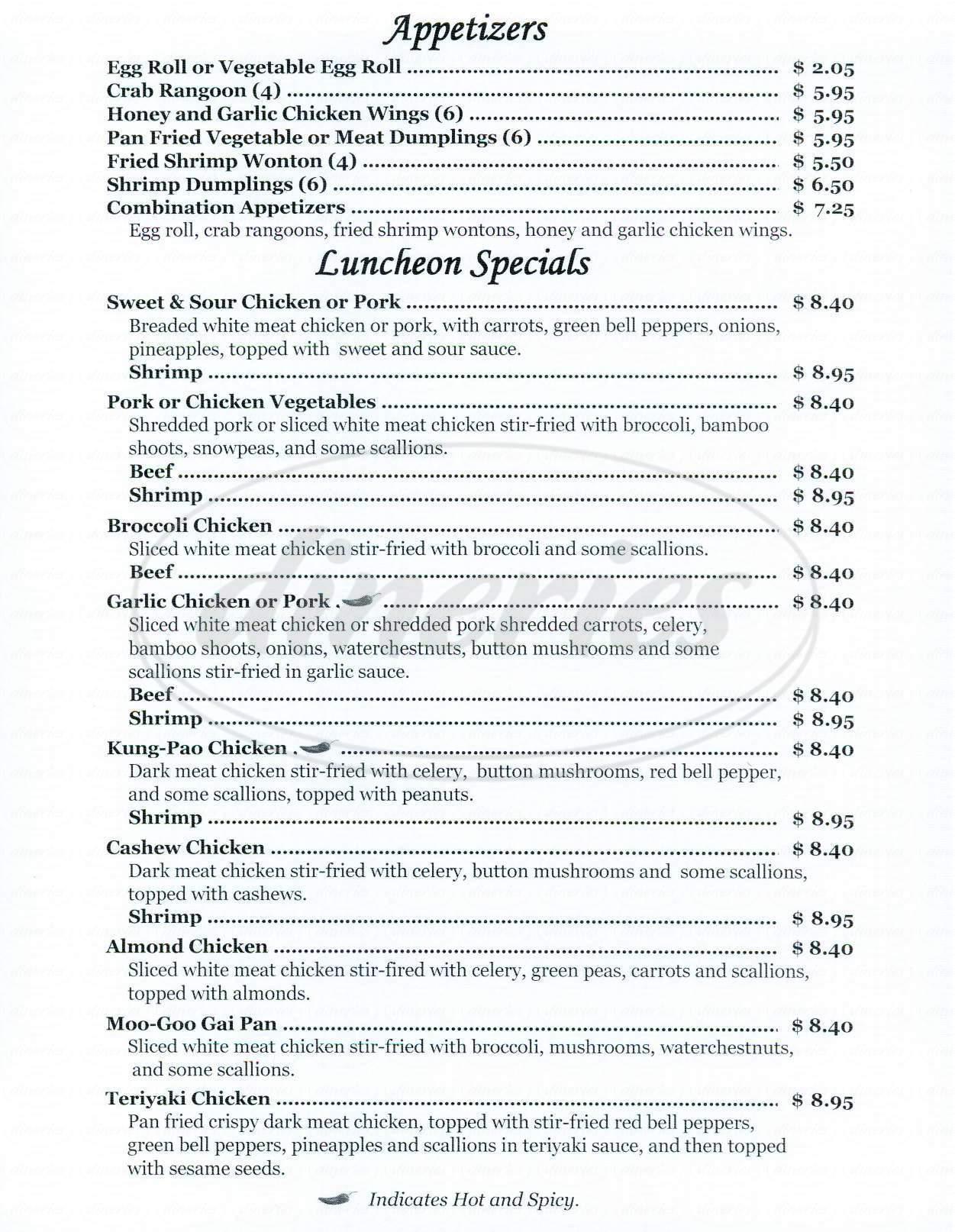 menu for China Road