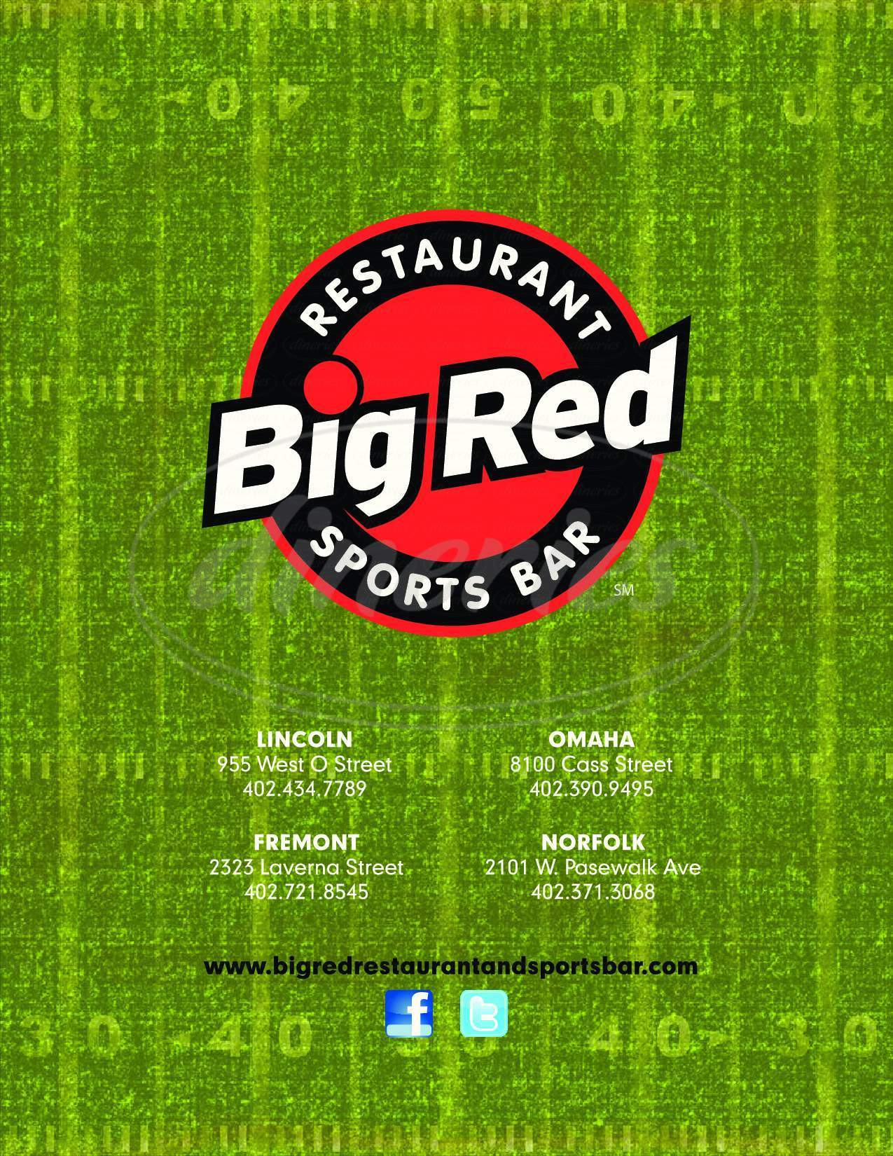 menu for Big Red Sports Bar & Grill