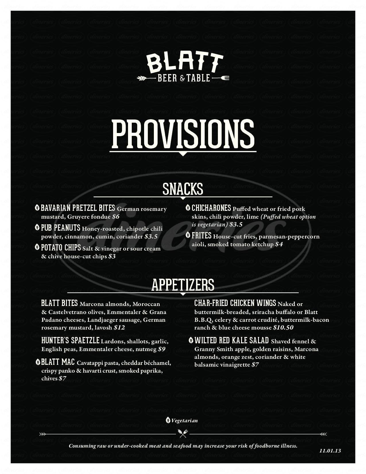 menu for Blatt Beer & Table