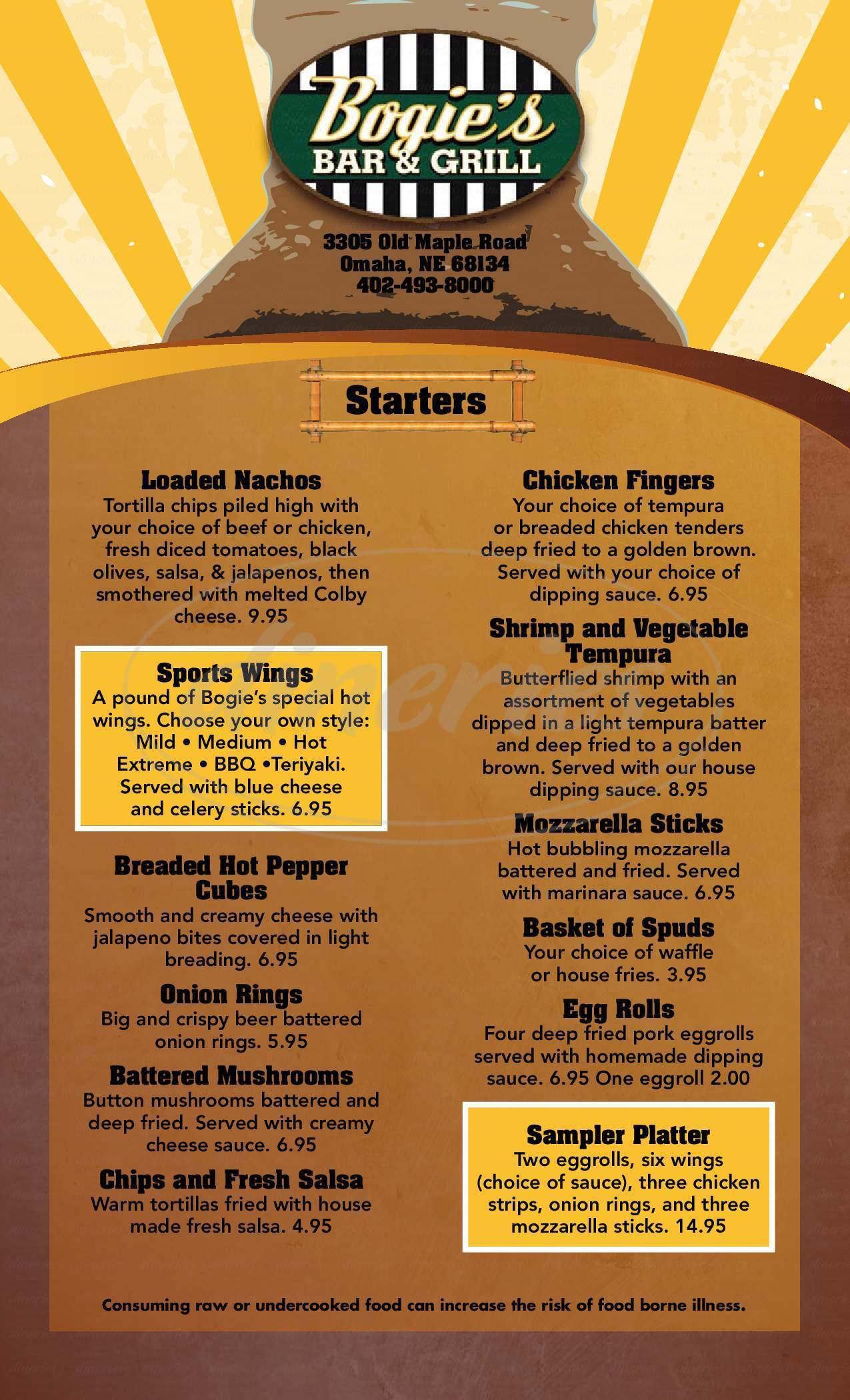 menu for Bogies Bar & Grill