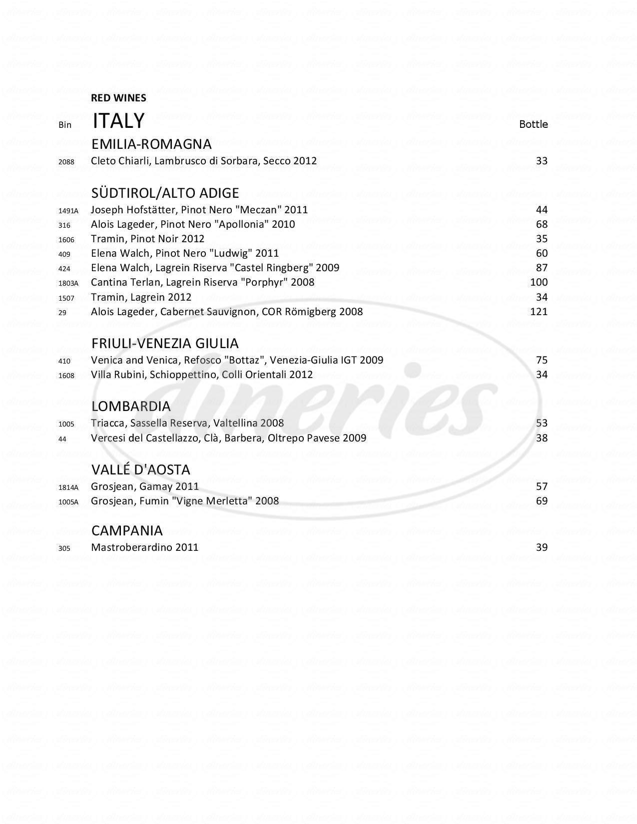 menu for The Boiler Room