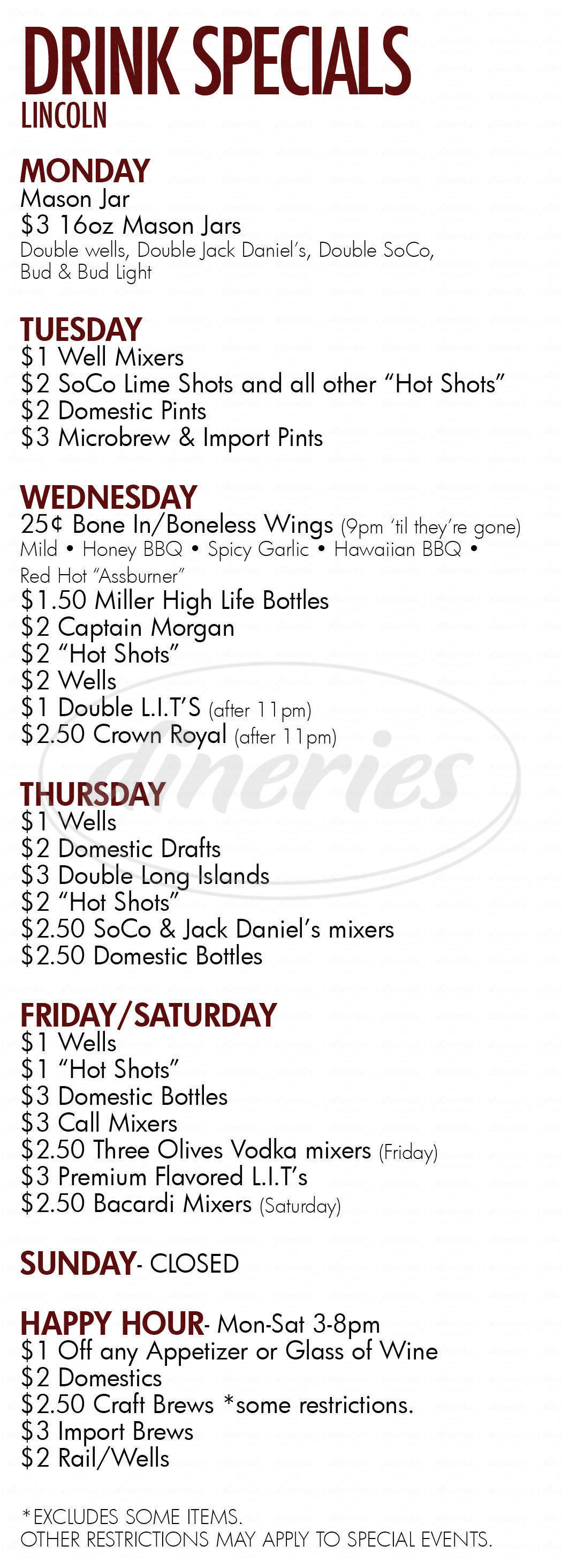 menu for Brothers Bar & Grill