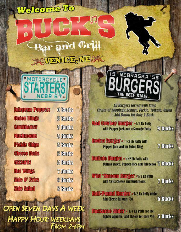 menu for Buck's Bar & Grill
