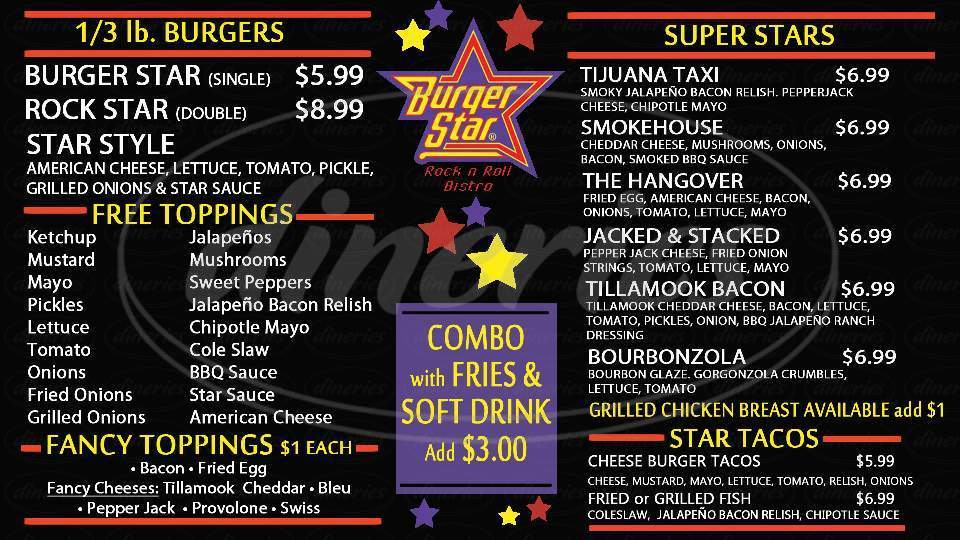 menu for Burger Star