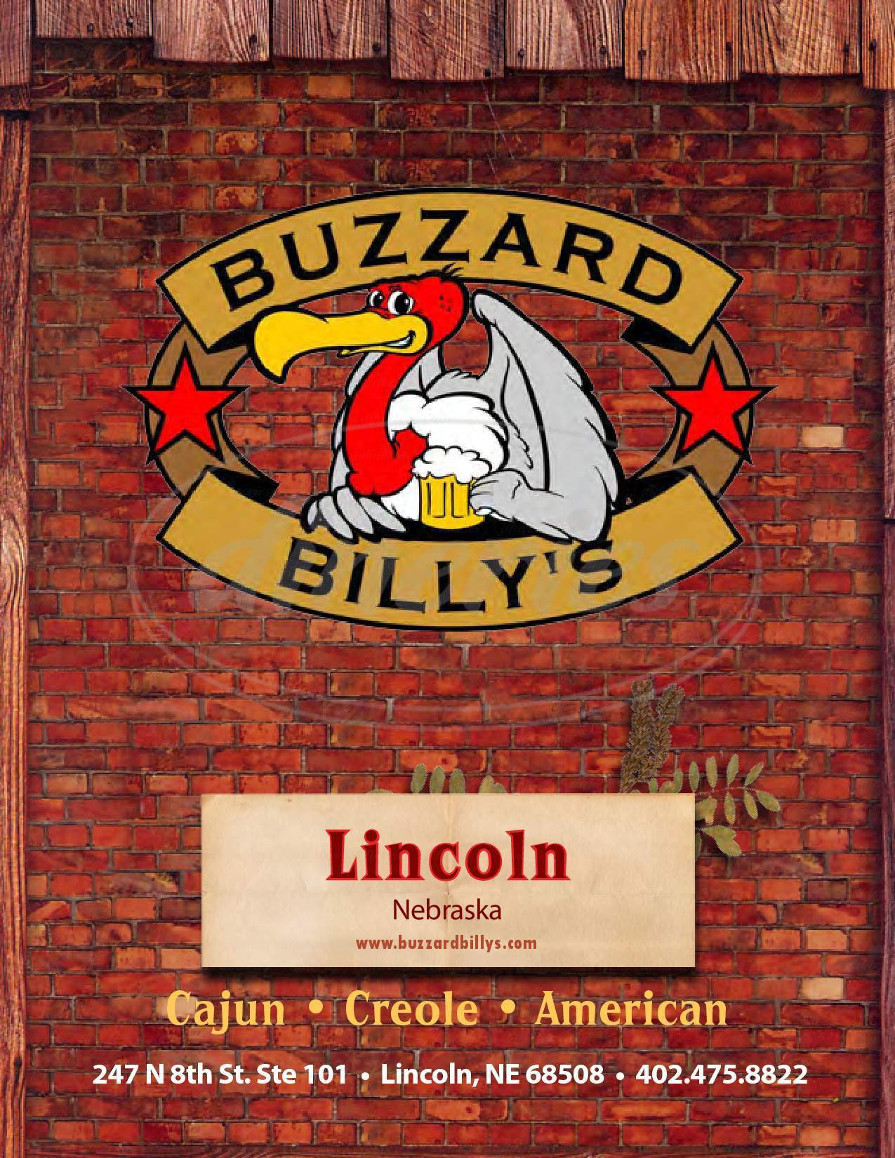 menu for Buzzard Billy's