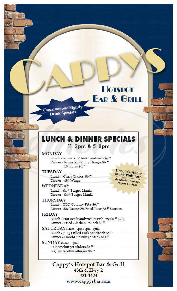 menu for Cappy's Hot Spot Bar & Grill