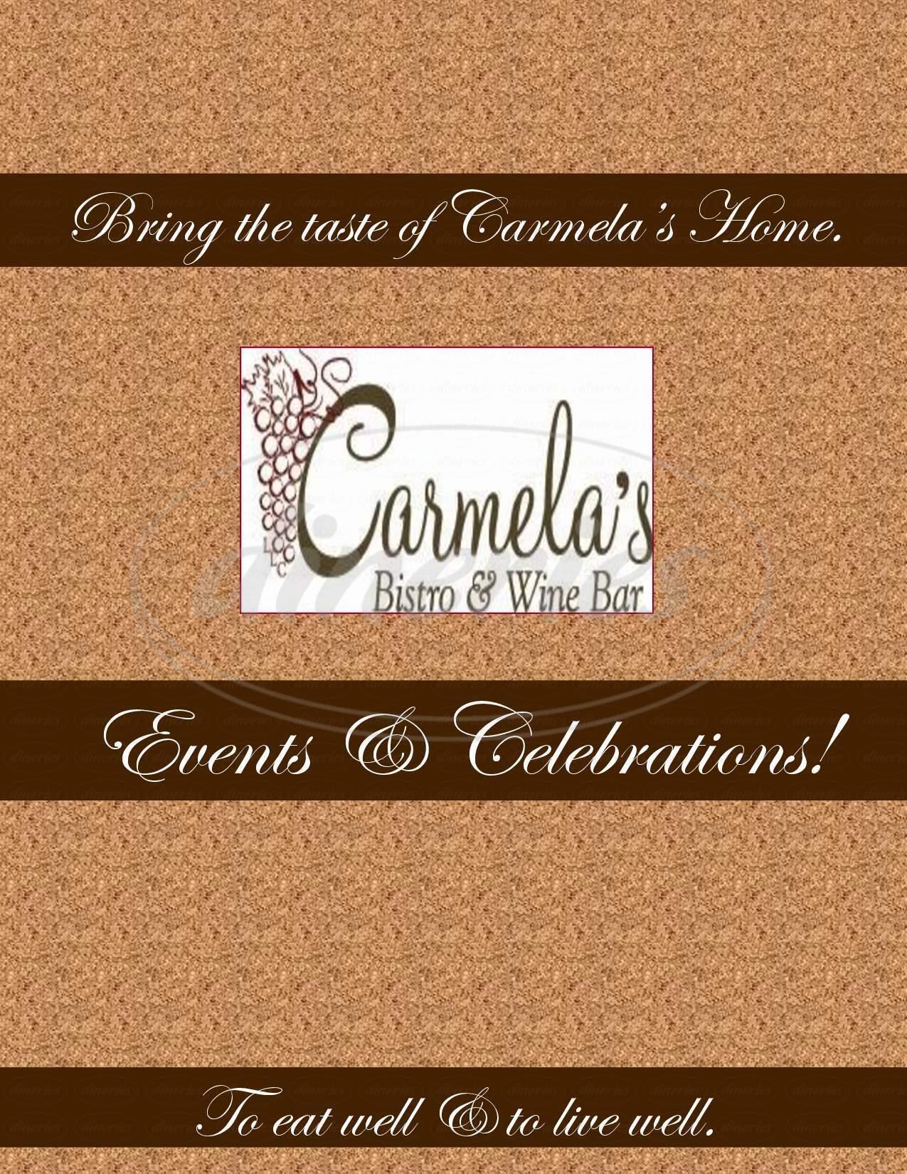 menu for Carmelas Bistro And Wine Bar