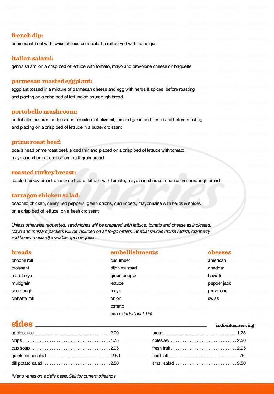 menu for Delice