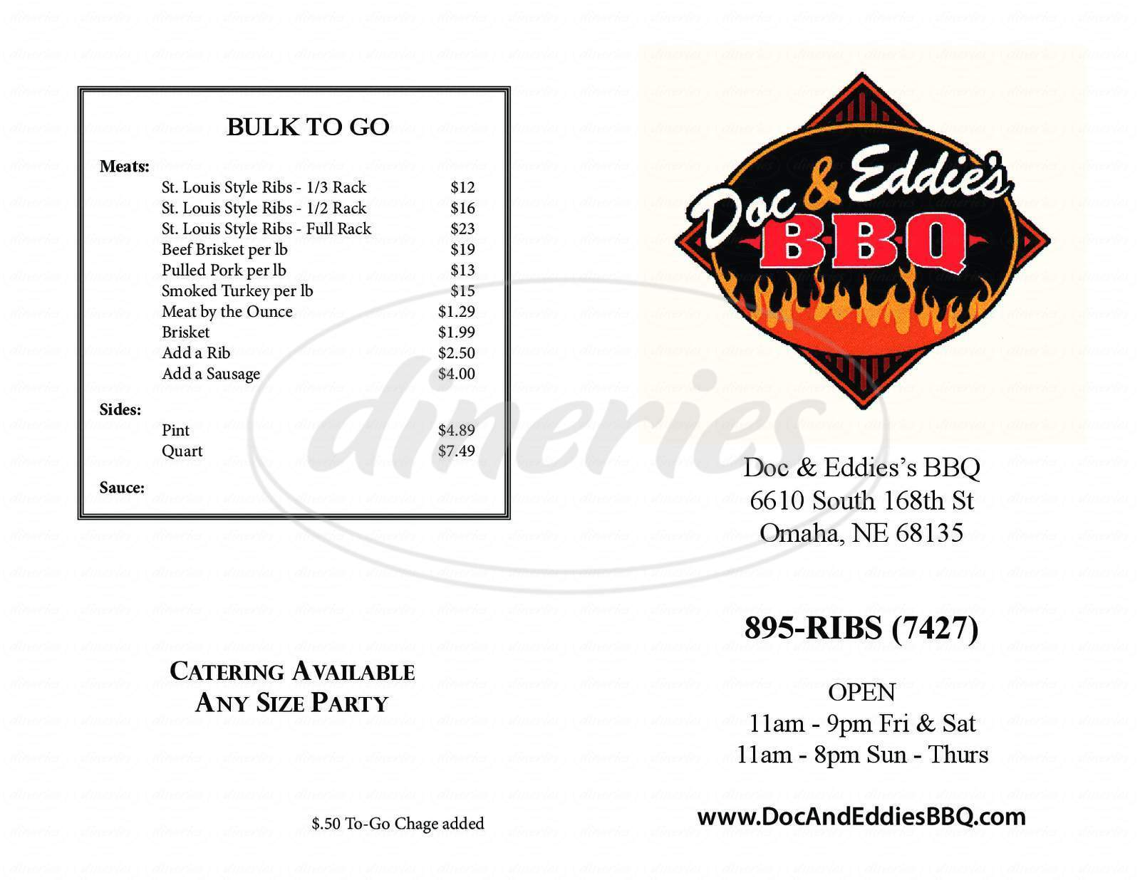 menu for Doc and Eddie's BBQ