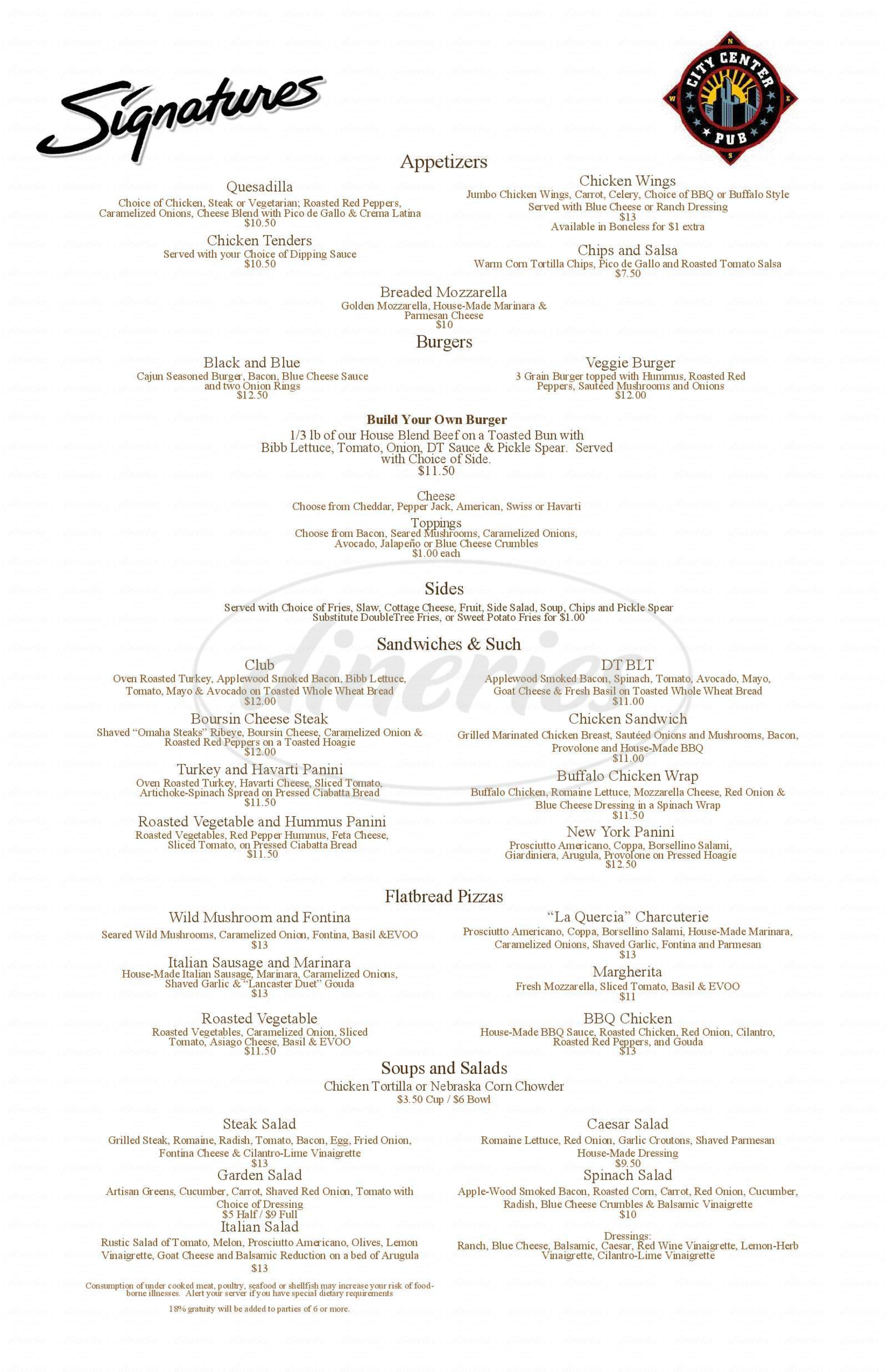 menu for DoubleTree by Hilton Omaha Downtown