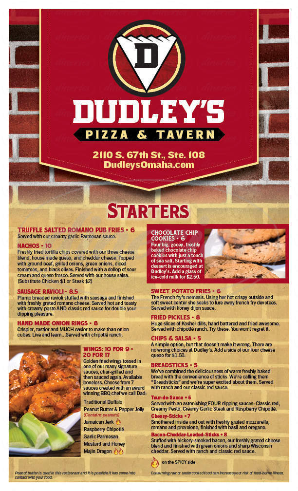 menu for Dudley's Pizza & Tavern