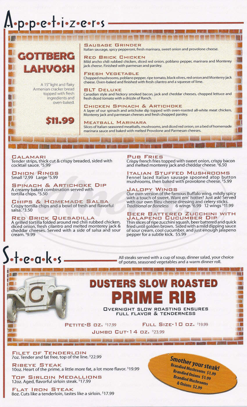menu for Dusters