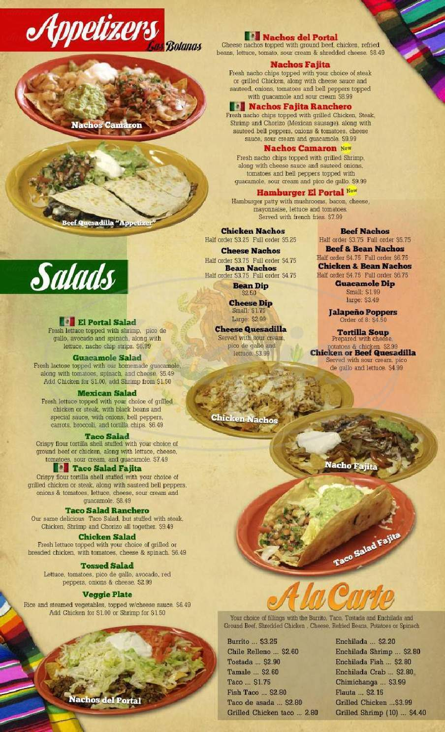 menu for El Portal Mexican Restaurant