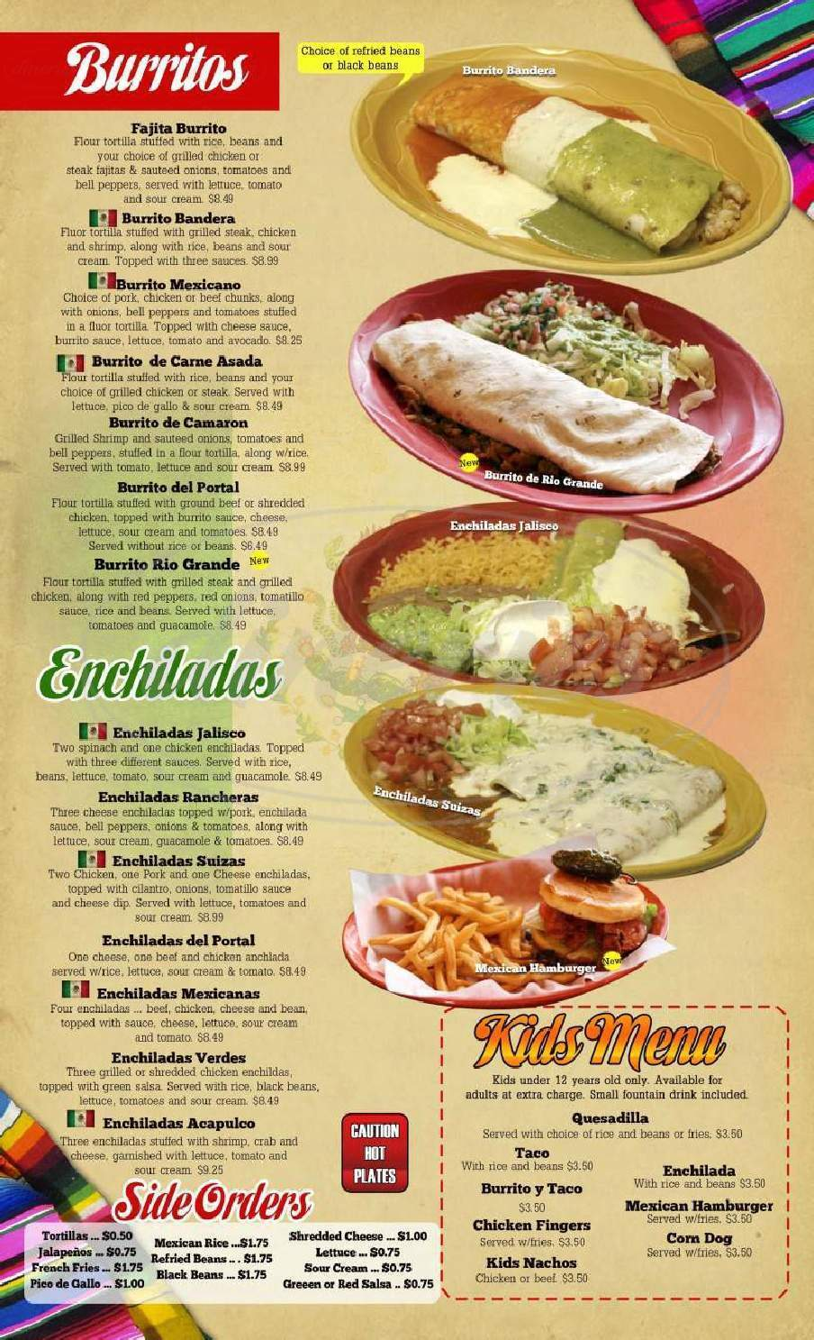 menu for El Portal
