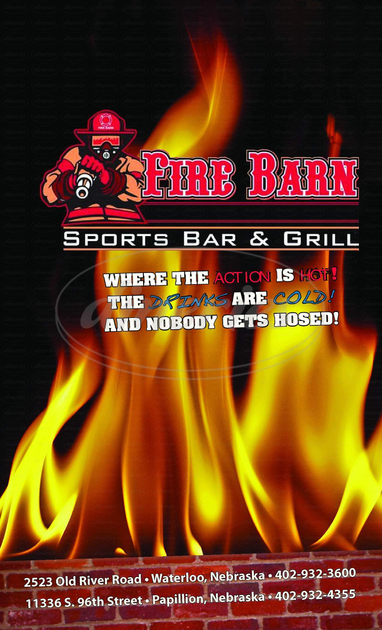 menu for The Fire Barn