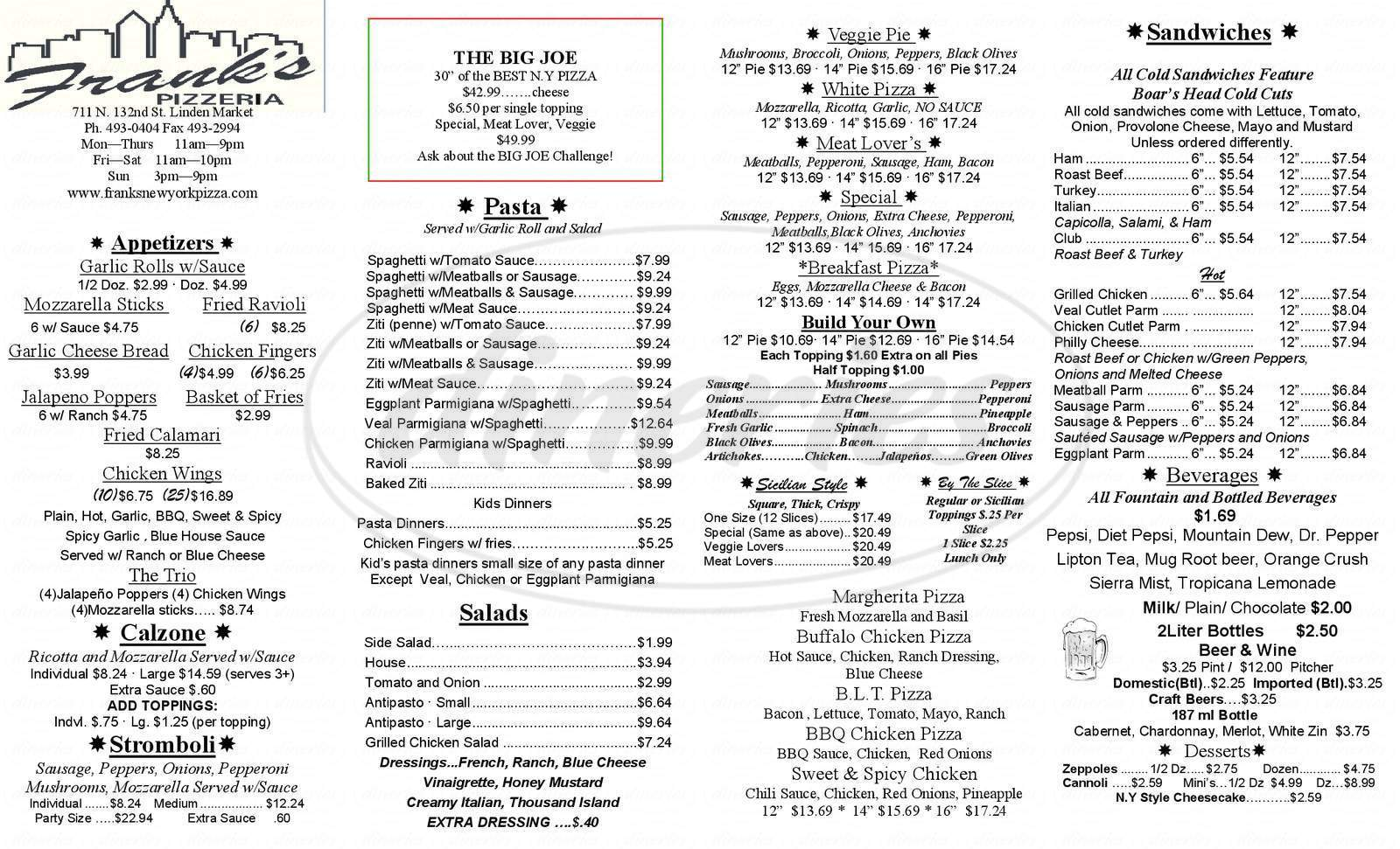 menu for Frank's Pizza