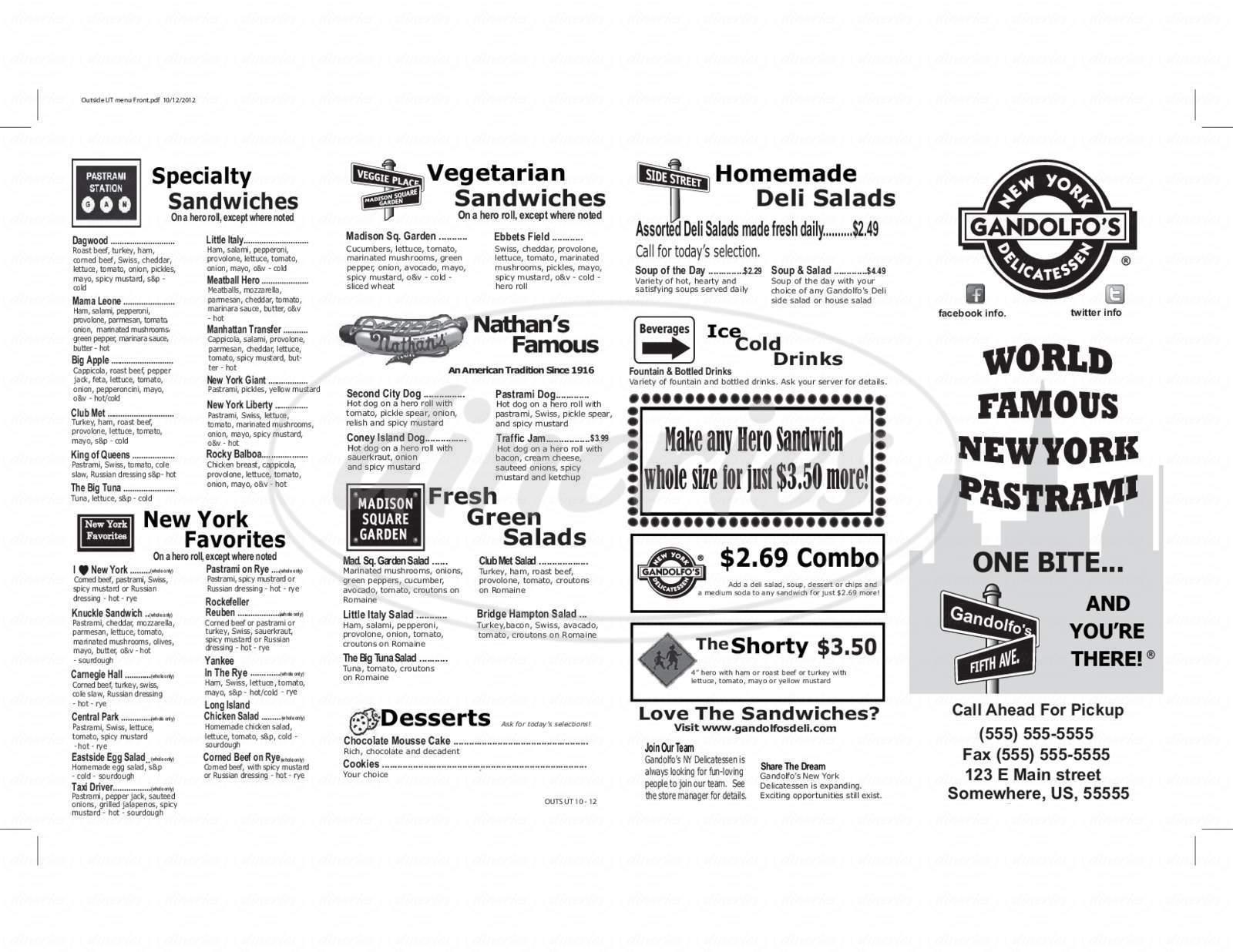 menu for Gandolfo's New York Deli