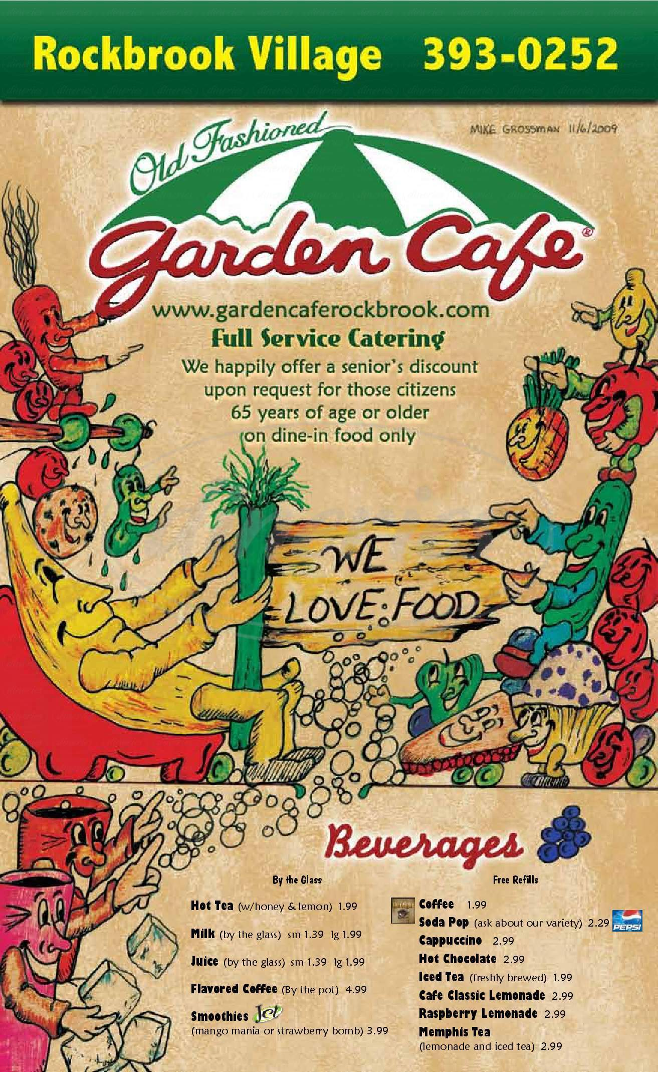 menu for Garden Cafe & Catering