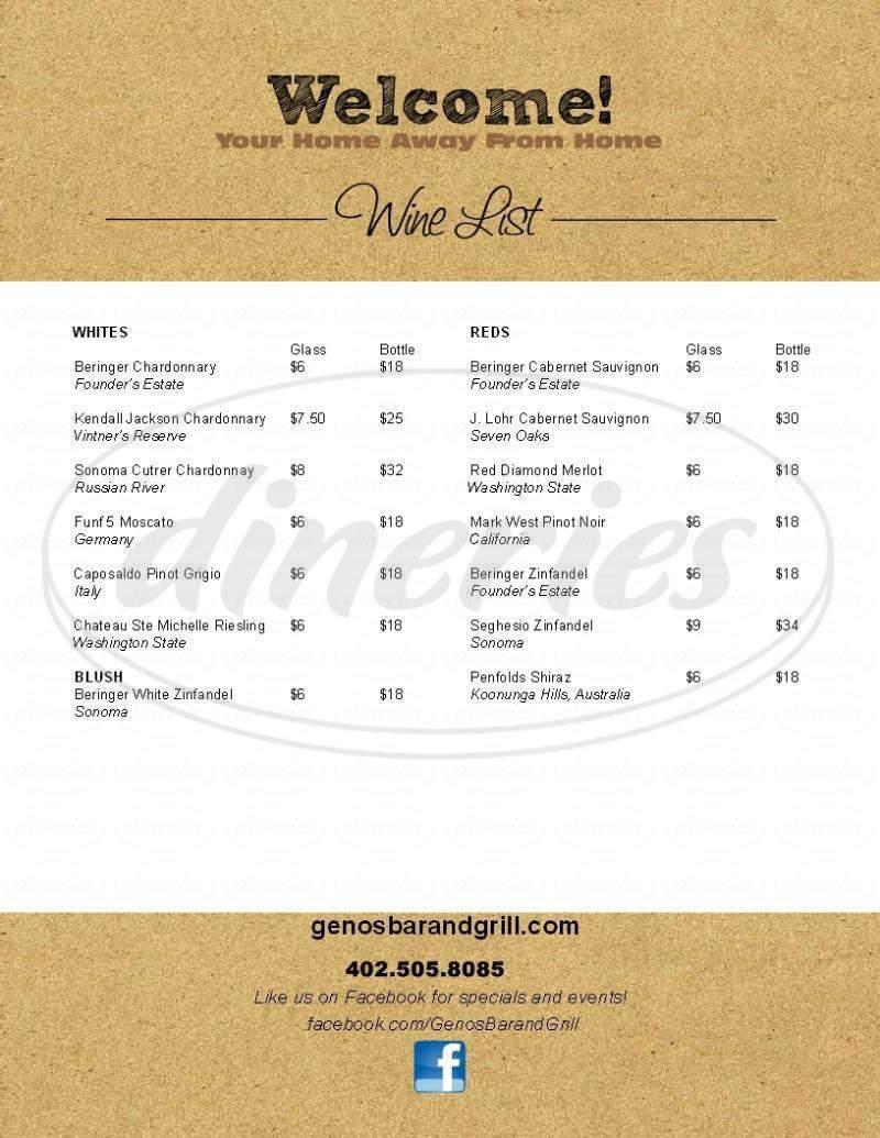 menu for Geno's Bar & Grill