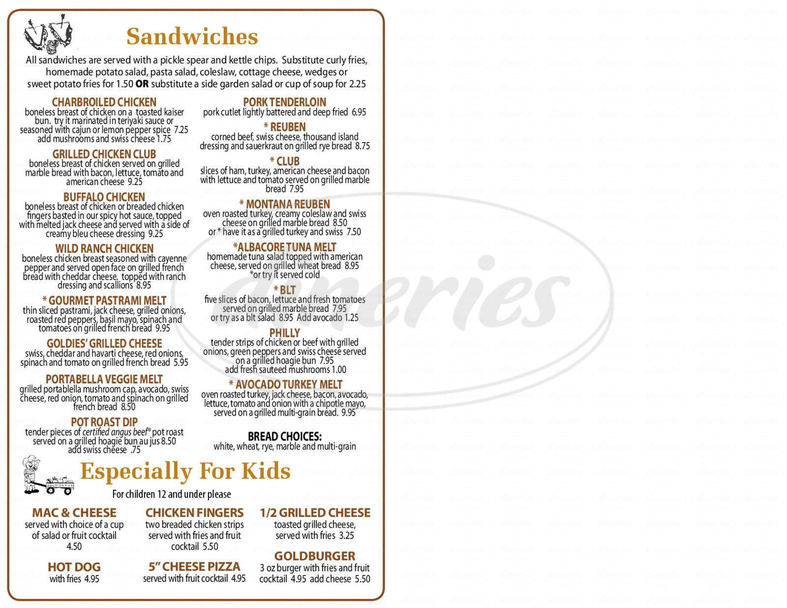 menu for Goldbergs in Dundee