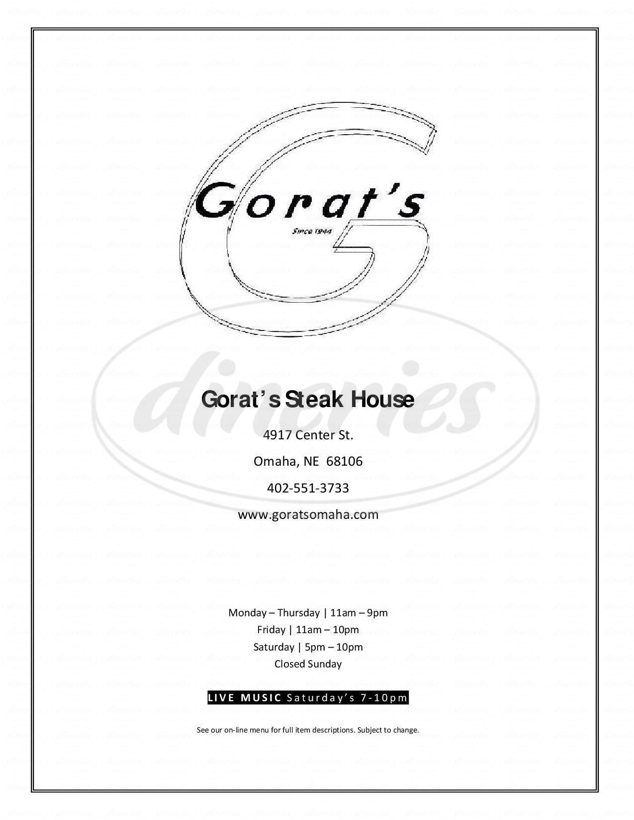 menu for Gorat's Steak House