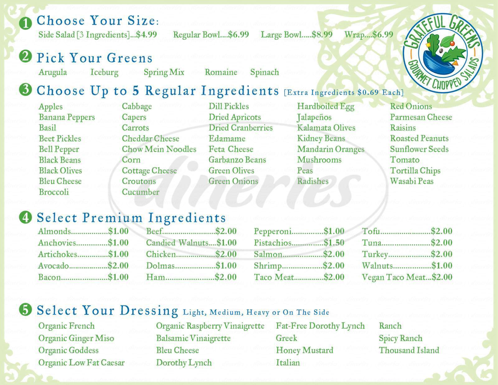 menu for Grateful Greens