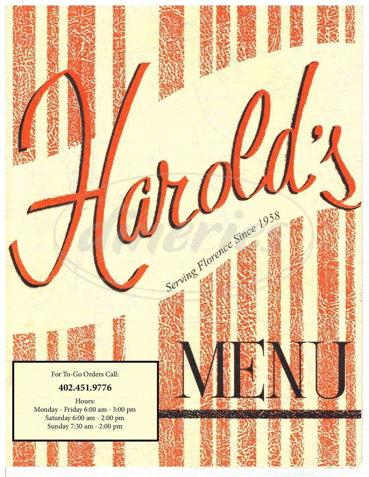 menu for Harold's Koffee House