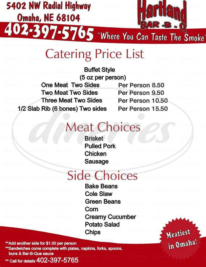 menu for Hartland BBQ