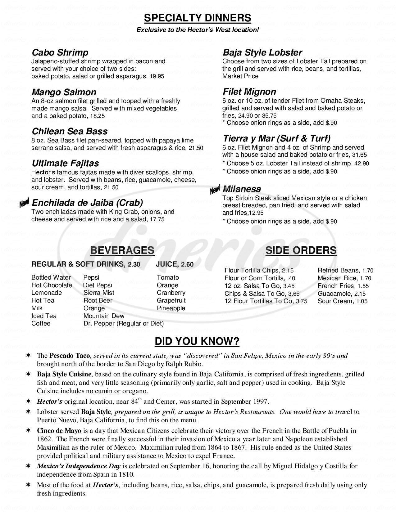 menu for Hector's
