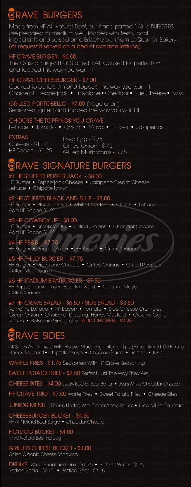 menu for HF Crave