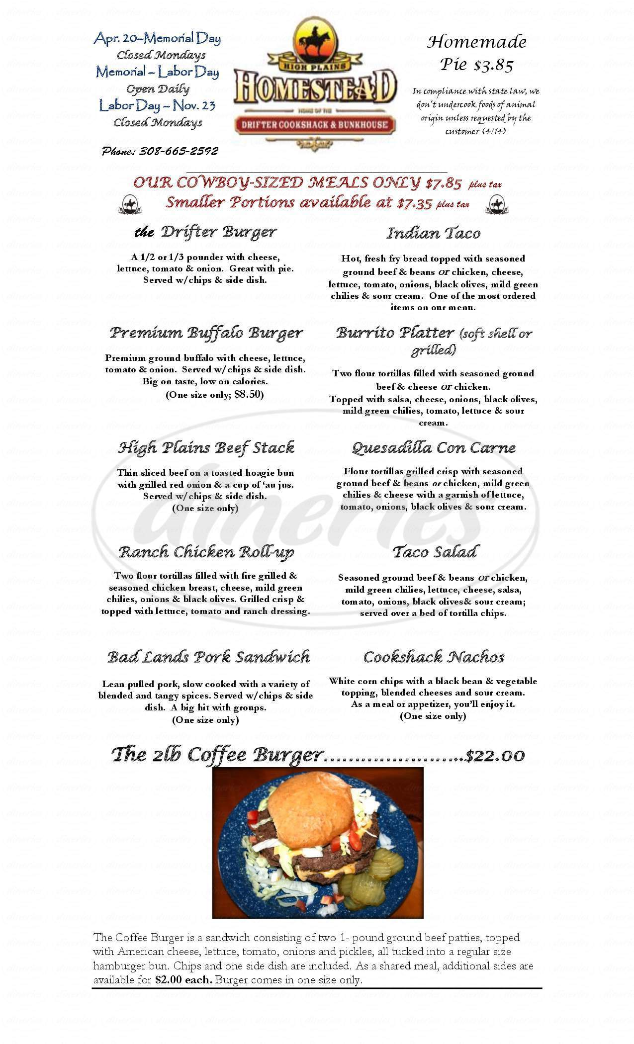 menu for The Drifter Cook Shack