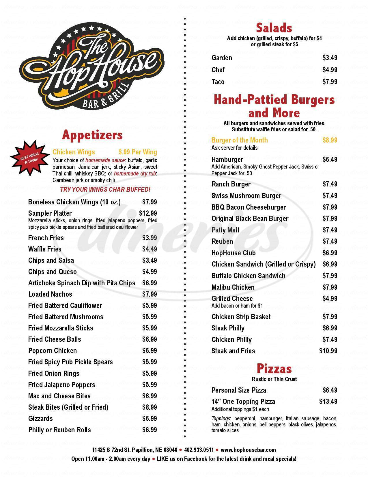 menu for The Hop House Bar & Grill